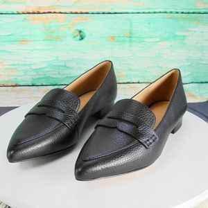 Coach  Naomi Black Leather Pointy Toe Loafer